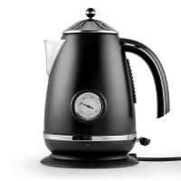 Waterkoker 1,7 liter - thermometer - RVS - Mat zwart
